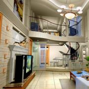 温馨复式楼走廊吊顶设计