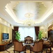 唯美复古客厅背景墙装修