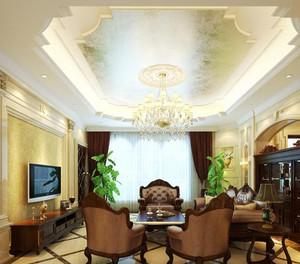 回味经典 复古风格客厅吊顶电视背景墙装修效果图鉴赏