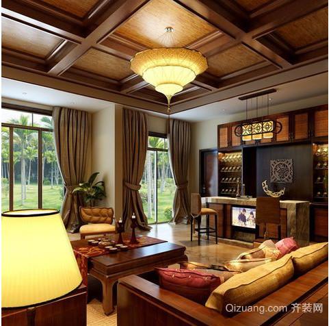东南亚民族风别墅窗帘装修效果图