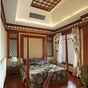 复古东南亚别墅卧室装修