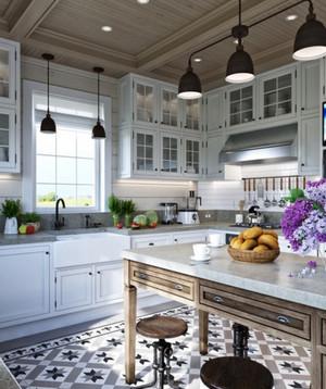 三室二厅大户型欧式厨房整体橱柜装修效果图