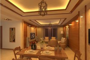 金碧辉煌东南亚客厅背景墙装修设计