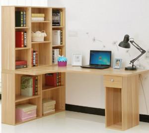 6平米小书房转角书柜电脑桌装修效果图