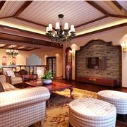 经典东南亚别墅客厅背景墙设计