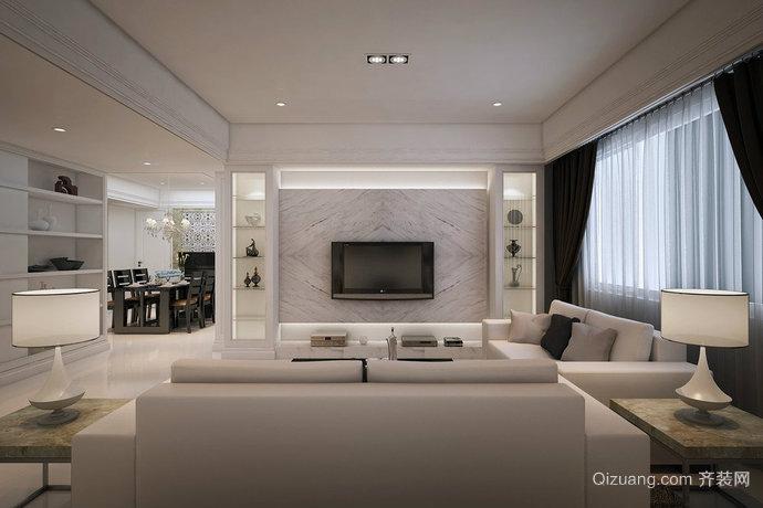 90平米欧式客厅电视墙装修效果图