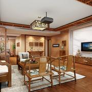 简约中式客厅吊顶电视背景墙