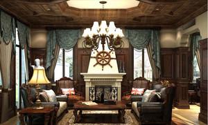 欧式奢华风格别墅窗帘装饰效果图
