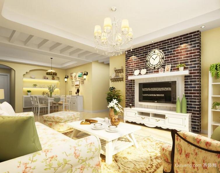 韩式田园风格客厅吊顶电视背景墙装修效果图鉴赏