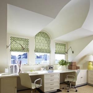 清新阁楼窗户窗帘设计