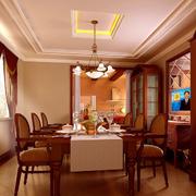 素雅欧式餐厅吊顶设计