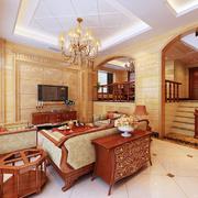 靓丽欧式别墅客厅电视背景墙设计
