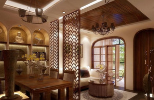 精致东南亚餐厅吊顶设计