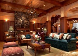 高档豪华美式乡村别墅客厅吊顶设计