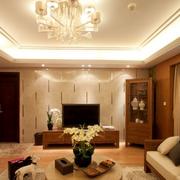 靓丽东南亚别墅客厅背景墙设计