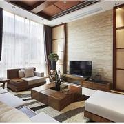 大气东南亚别墅客厅背景墙设计