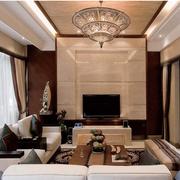 高档东南亚别墅客厅背景墙设计