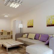 清新欧式别墅客厅沙发墙设计