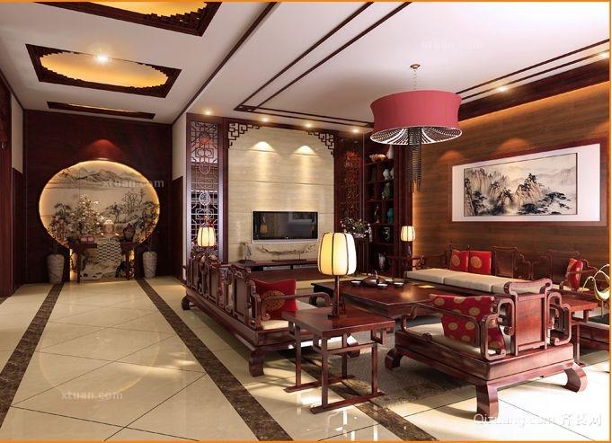 中式别墅客厅电视背景墙效果图