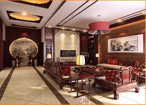 精致中式别墅客厅电视背景墙