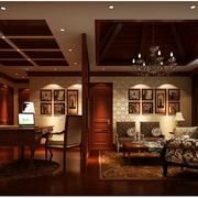 复古中式别墅卧室装修设计