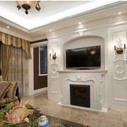 时尚素雅欧式别墅客厅电视背景墙设计