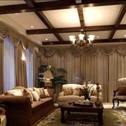 复古美式别墅窗帘设计