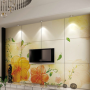 华美家庭客厅电视墙瓷砖装修