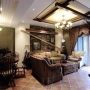靓丽美式乡村别墅客厅吊顶设计