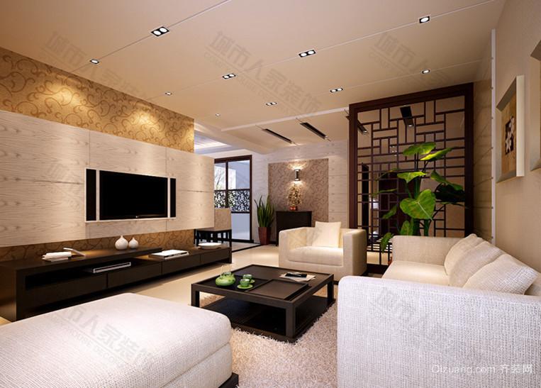 2015中式客厅吊顶电视背景墙图片大全