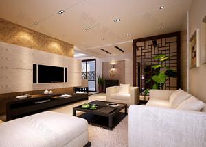 精致中式客厅吊顶电视背景墙