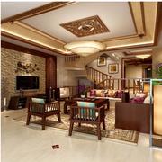 精致东南亚别墅客厅背景墙设计