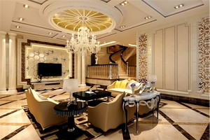金碧辉煌欧式别墅客厅电视背景墙设计