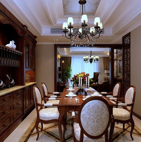 新 中式古典 餐厅 酒柜 装修效果图 齐装网装修效