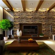 清新东南亚别墅客厅背景墙设计
