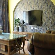 简约东南亚客厅背景墙装修设计