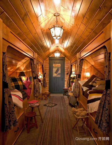 单身公寓现代都市卧室双层床装修效果图