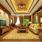 华美中式客厅吊顶电视背景墙