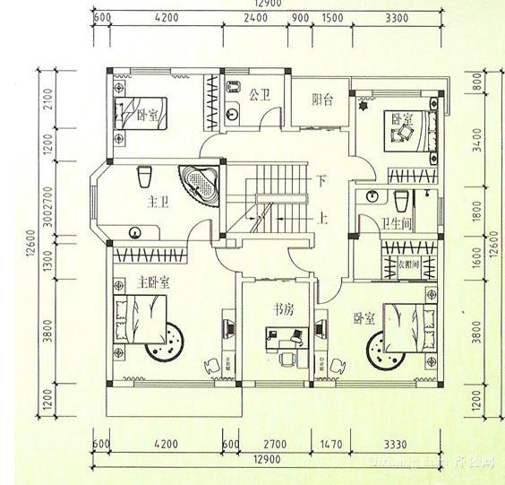 二层简单小别墅平面图