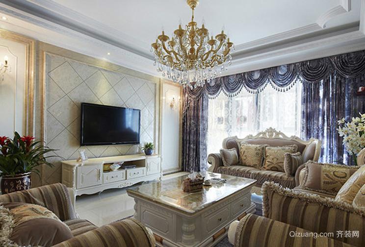 纯洁高贵的法式客厅吊顶电视背景墙装修效果图鉴赏