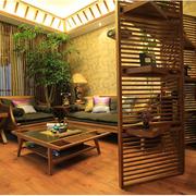 自然东南亚客厅背景墙装修设计