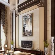 潮流中式别墅客厅电视背景墙