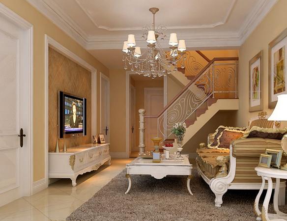 三室二厅欧式客厅 石膏线装修效果图 齐装网 装修效果图