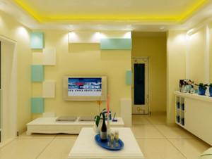 精致家庭客厅电视墙瓷砖装修