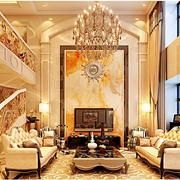 华美东南亚别墅客厅背景墙设计