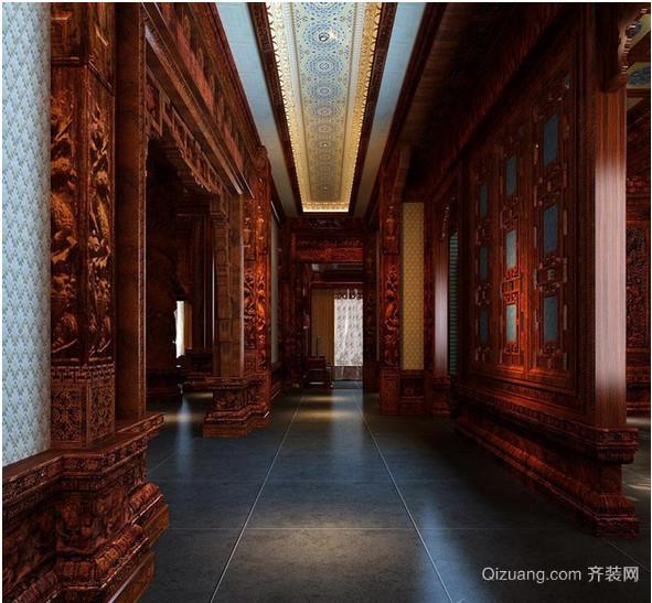 中式别墅过道吊顶效果图