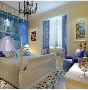地中海别墅卧室飘窗装修效果图