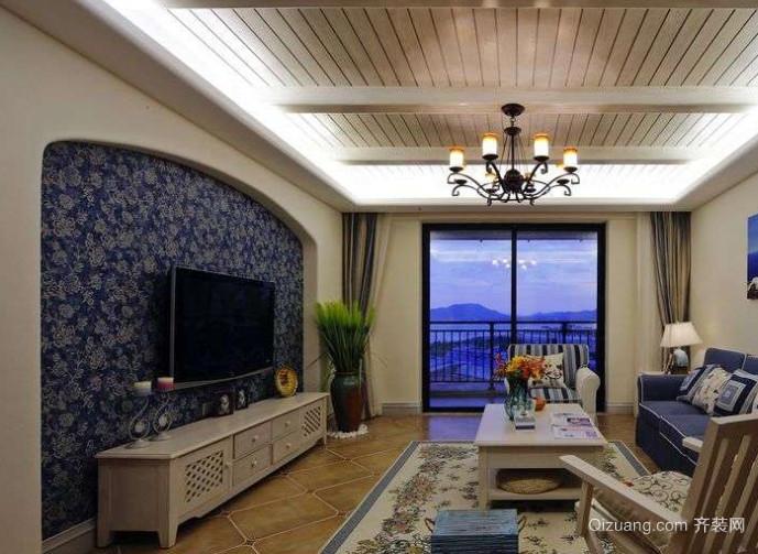 100平米地中海风格客厅电视墙装修效果图