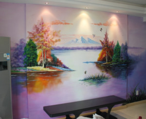 美式乡村风格墙绘装修效果图