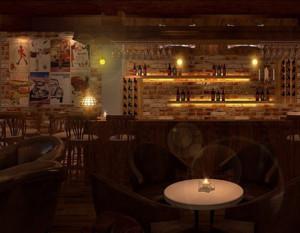 100平米美式乡村风格酒吧装修效果图